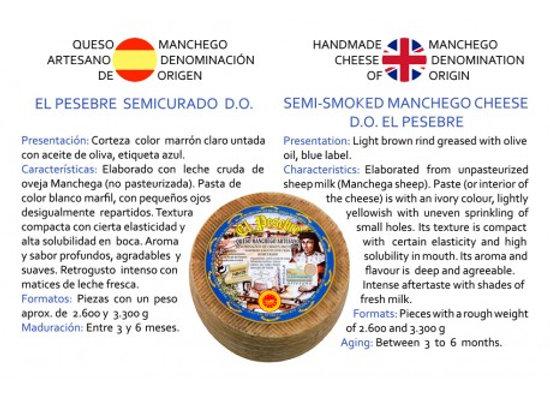 Cuña de medio queso El Pesebre Artesano Semicurado D.O.  1.250 g (aprox.)