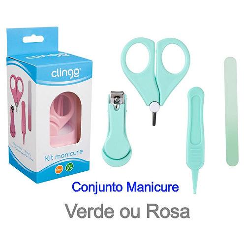 CONJUNTO MANICURE - VERDE/ROSA - CLINGO