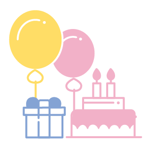 Birthday party illustration, balloon, present, cake