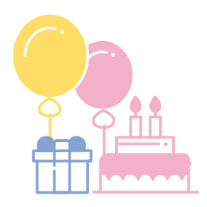 Birthday party illustration, balloon, present, cake