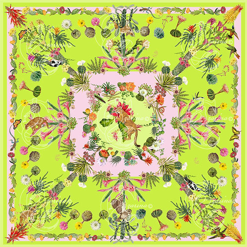 Cacti & Friends Lime/Soft Pink part of a collection of luxury scarves for women