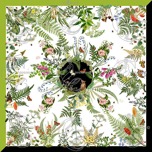 Fern and Friends White/Chartreuse part of a collection of luxury scarves for women