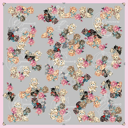 Vintage Kittens soft grey part of a collection of luxury scarves for women