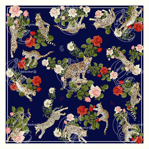 Ocelots & Roses Navy part of a collection of luxury scarves for women