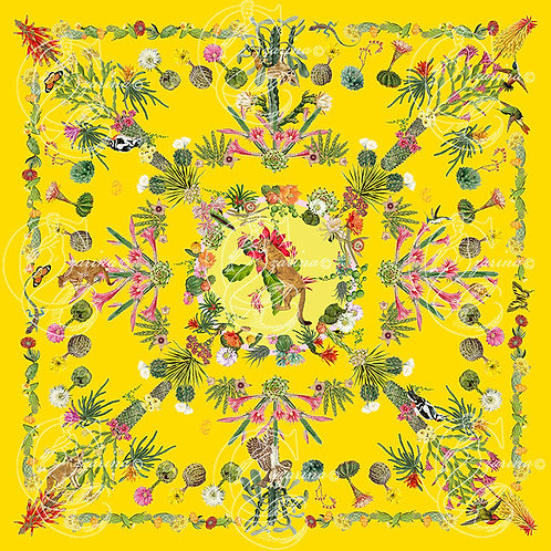 Cacti & Friends emperor yellow part of a collection of luxury scarves for women