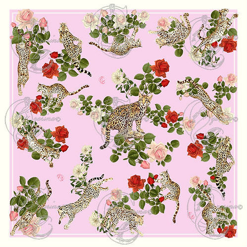 Ocelots & Roses sugar pink part of a collection of luxury scarves for women