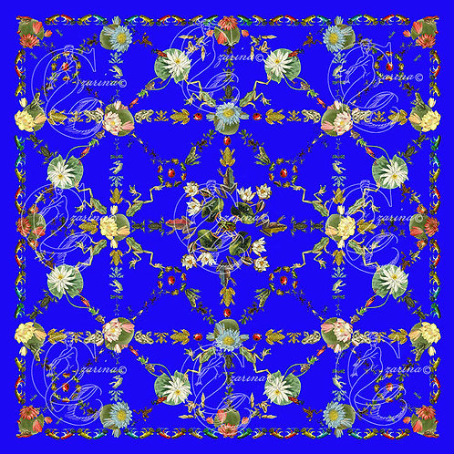 Frolicking Frogs electric blue part of a collection of luxury scarves for women