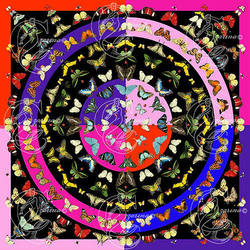 Butterfly Explosion vivid pink part of a collection of luxury scarves for women