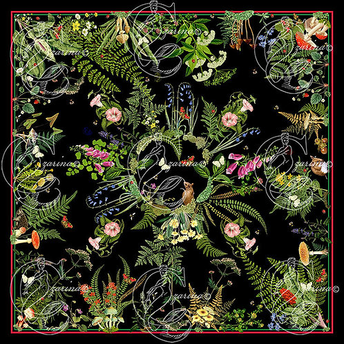 Fern and Friends Black close up print detail part of a collection of luxury scarves for women