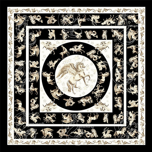Pegasus Black/Ivory part of a collection of luxury scarves for women