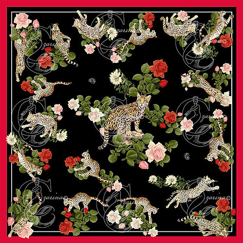 Ocelots & Roses Black part of a collection of luxury scarves for women