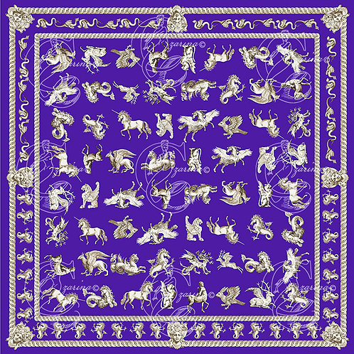 Mythical Beasts purple part of a collection of luxury scarves for women