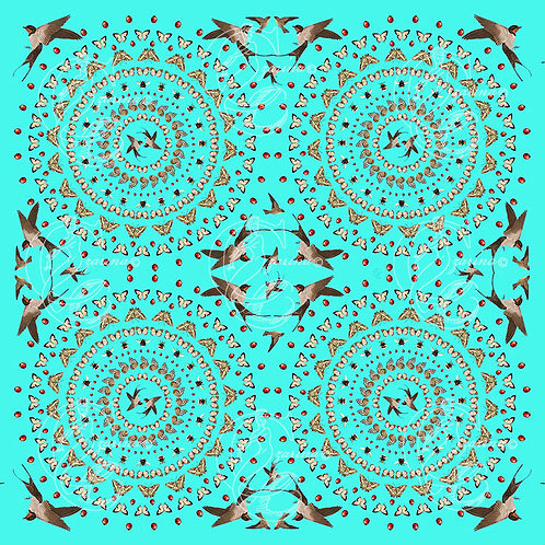 Swooping Swallows vivid turquoise part of a collection of luxury scarves for women