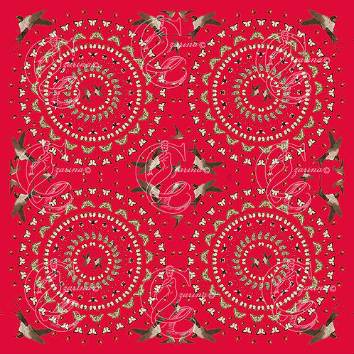 Swooping swallows red silk scarf for women