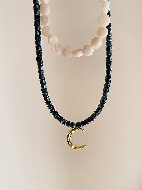 Hematite & Coral Necklace