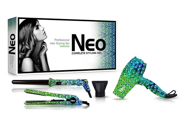 Neo Hair Styling Set with Hair Straightener + Curling Iron Wand + Mini Dryer