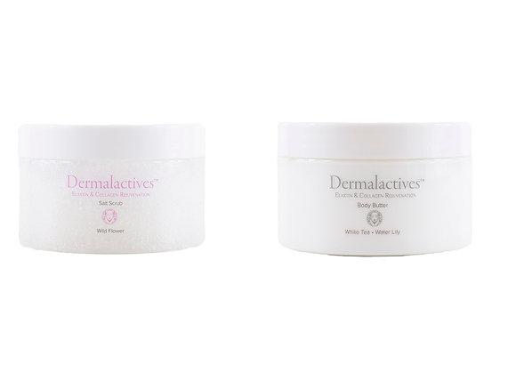 Dermalactives Replenishing Nourishing & Exfoliating Salt Scrub & Body Butter Set