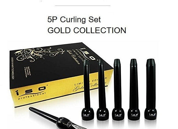 ISO Beauty 5P Curling Iron Wand Gold Col' GIFT SET
