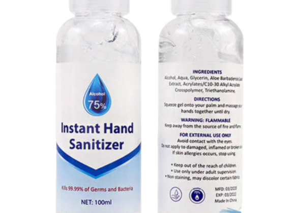 Instant Hand Sanitizer 75% Alcohol Against Germs and Bacteria, 100ml