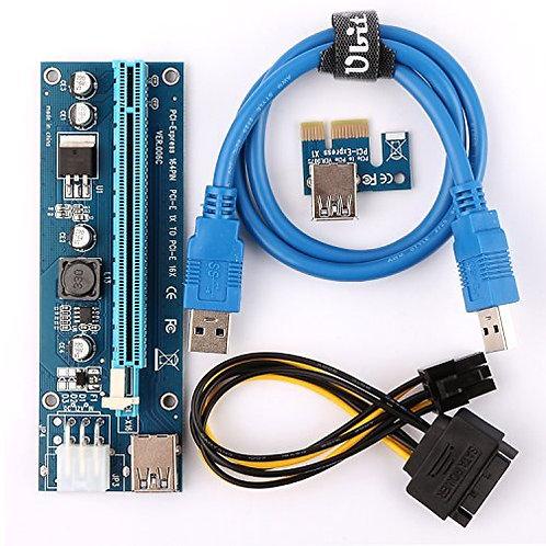 Tarjeta Riser PCIe VER 006C 6 PIN 16x a 1x para Minería de Criptos con GPU