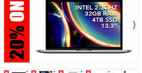 "20% ONE PARA APPLE 13.3"" MACBOOK PRO 2.3GHZ, 32GB, 4TB, RETINA DISPLAY MID 2020, SPACE GRAY"