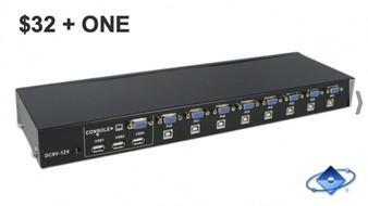 CONECTA 8 PC A 1 MONITOR CON ESTE KVM SWITCH DE 8 PUERTOS VGA + USB 2.0 CON BOTONES OFERTA $32 + ONE