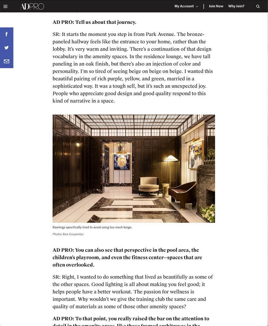1010 Park Avenue for David Collins Studios in Architectural Digest