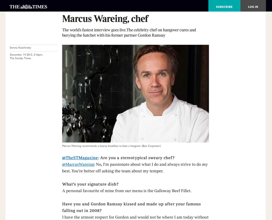 Marcus Wareing in The Times
