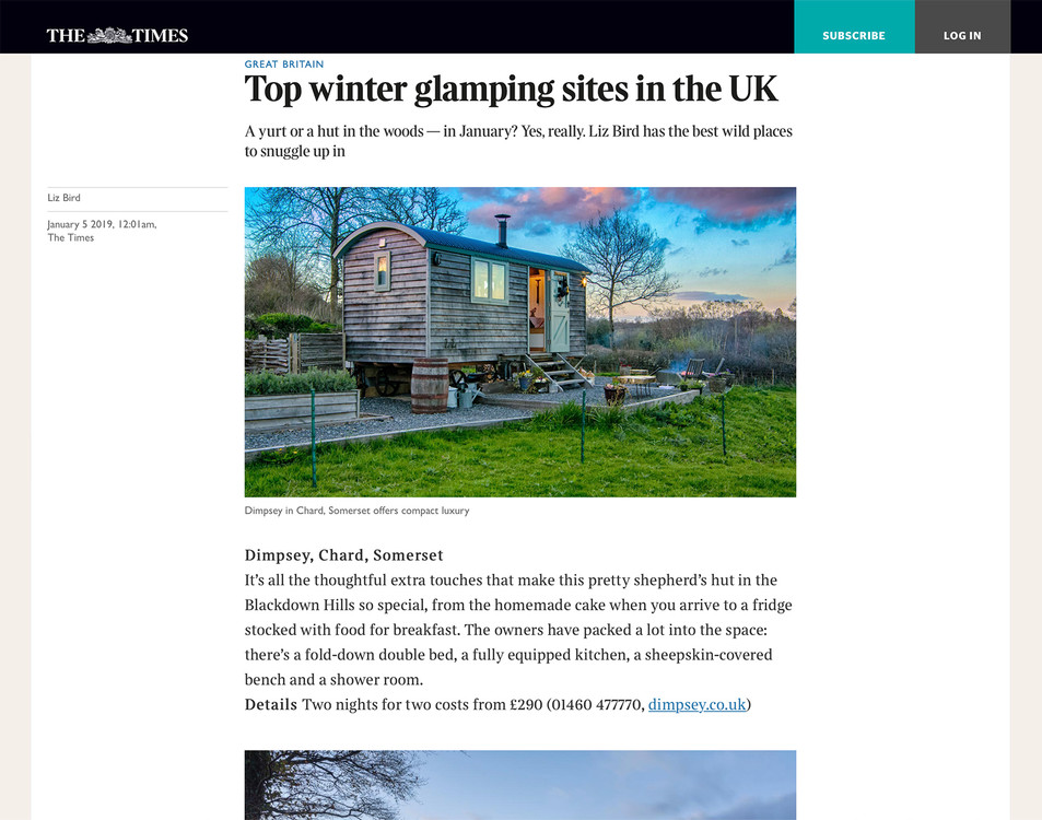 Dimpsey Shepherds Hut in The Times