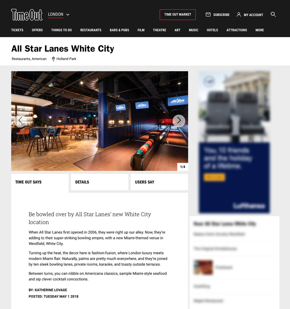 All Star Lanes on TimeOut