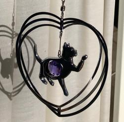 Cat Purple Dangle Close
