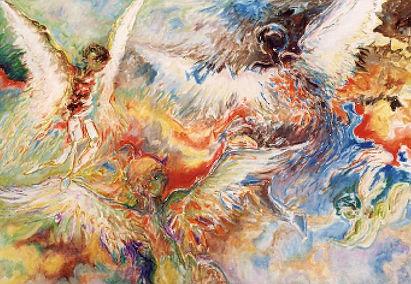 Ange Volant Non Identifié peinture à l'huile DidierAvenel