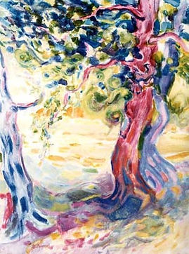 L'arbre rouge Huile sur toile