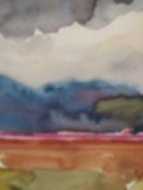 Paysade d'Irlande, peinture à l'aquarelle