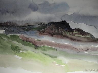 Paysage d'Irlande, peinture à l'aquarelle