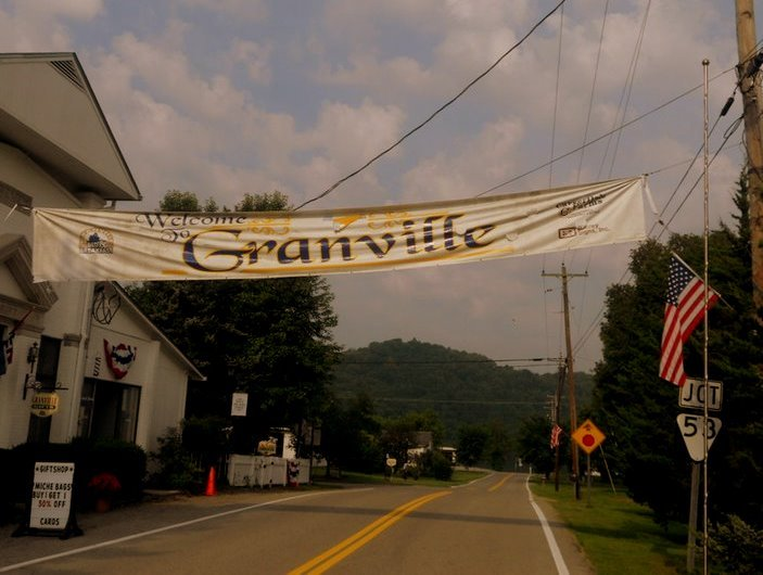 In town ' Granville ' banner.