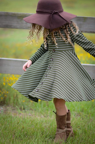 Fall Pine Ribbed Knit Dress