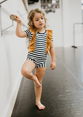 Navy & Mustard Stripe Leotard