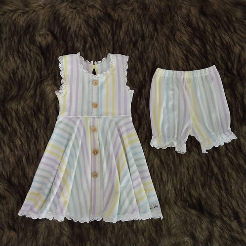 Summer Stripe Tunic Set with Bloomers
