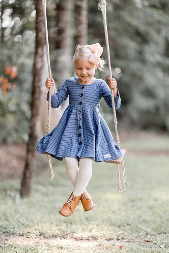 Moody Blues Ribbed Knit Dress