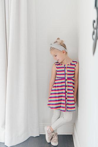 Purple & Pink Ribbed Knit Tank Dress
