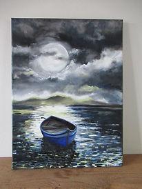 cat.112 Blue boat in the moonlight.JPG