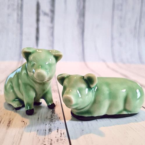 Set of Jade colour Pigs
