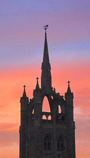 Trinity spire at sunset