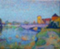 Vieux pont   Chainette auxerre tableau huile sur toile jean guy begue