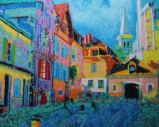 La place du Coche d'eau Auxerre Tableau pointilliste Jean-Guy Bègue