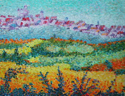 Vézelay Tableau pointilliste Jean-Guy Bègue