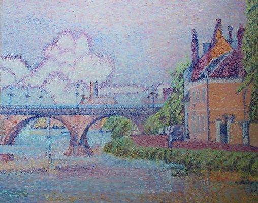 Le pont de  la Tournelle vu de La Chaînette Auxerre Tableau pointilliste Jean-Guy Bègue