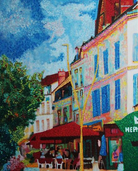 Le Biarritz Auxerre Tableau pointilliste Jea-Guy Bègue