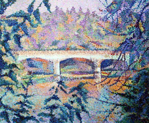 Pont du Serein Bonnard Tableau pointilliste Jean-Guy Bègue Auxerre